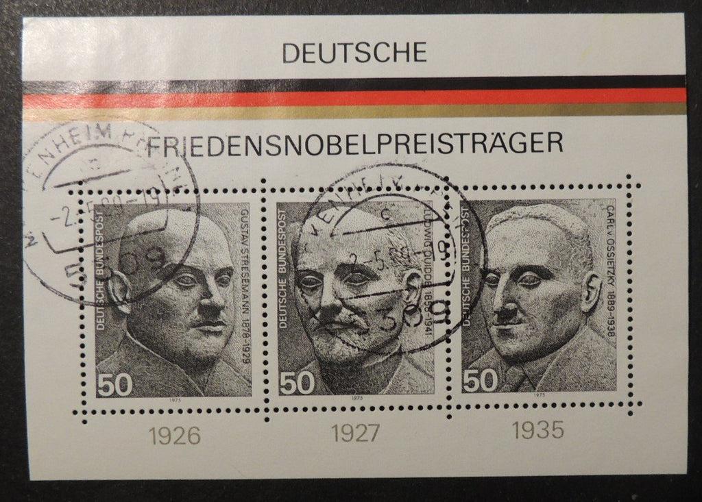 Germany 1975 nobel peace winners m/sheet sg ms1767 used