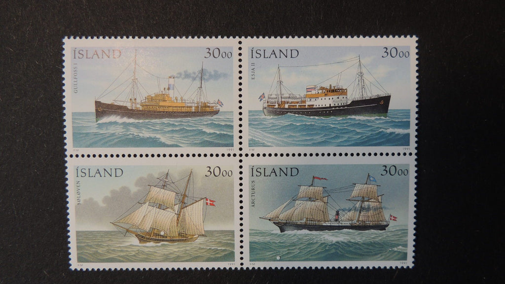 Iceland-1991-sailing-steam-ships-block-of-4-values-MNH-ships-146140-