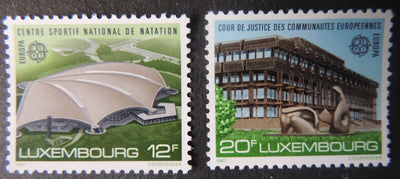 Luxembourg 1987 europa architecture sport stadium court of justice 2 values MNH