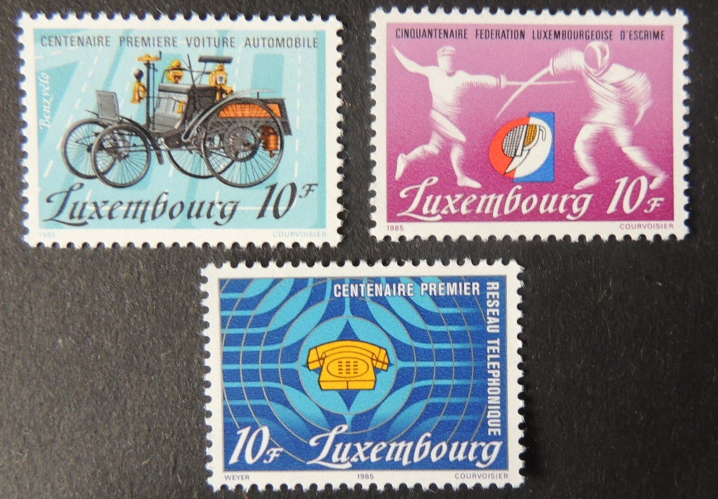 Luxembourg 1985 anniversaries fencing vintage cars telephone 3 values MNH