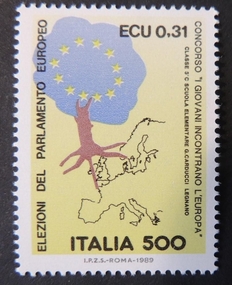 Italy 1989 3rd direct elections to european parliament maps trees 1v MNH