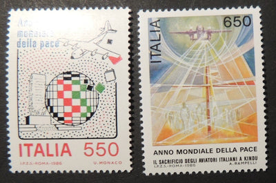 Italy 1986 international peace year aviation aircraft 2v MNH