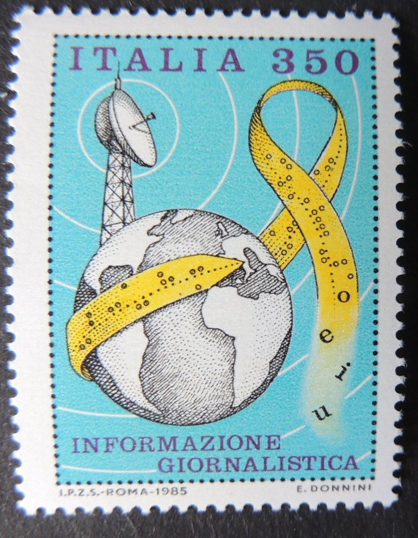 Italy 1985 information technolgy globe dish aerial punch tape 1v MNH