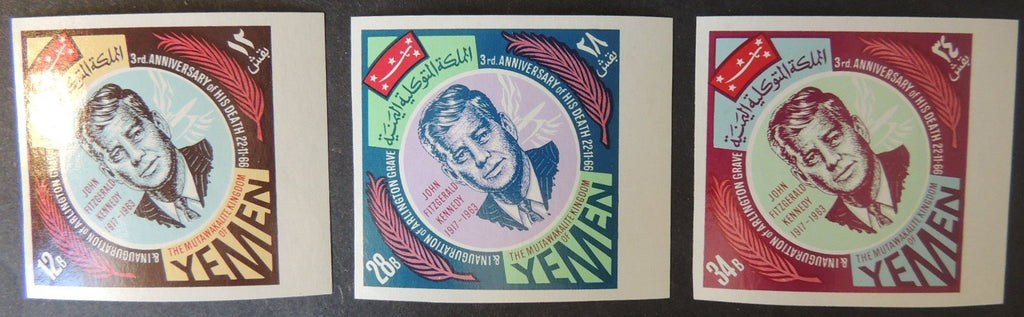 Yemen 1966 3rd death anniversary kennedy imperf set of 3 rare! MNH