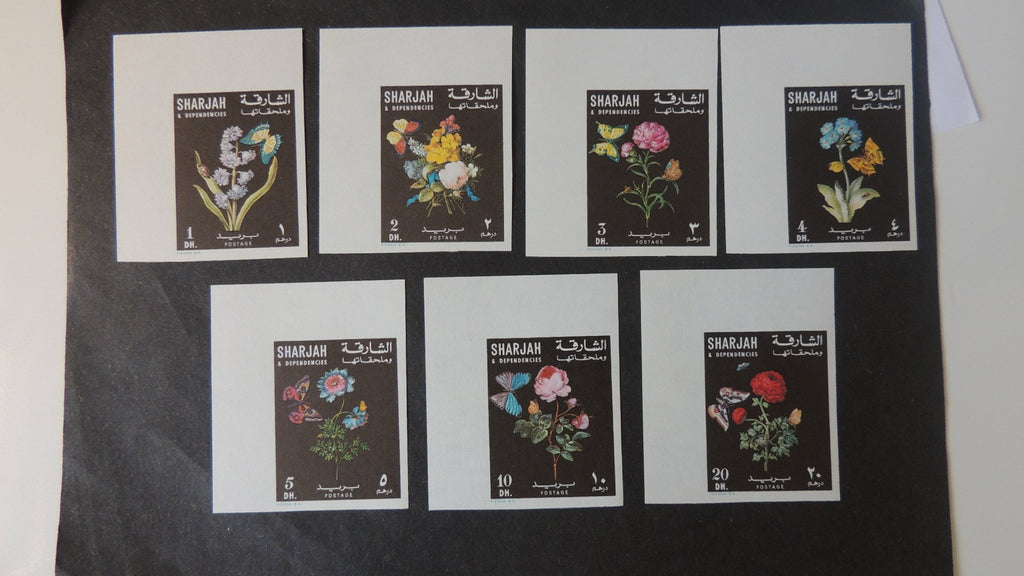 Sharjah 196? flowers set of 7 imperf rare! MNH