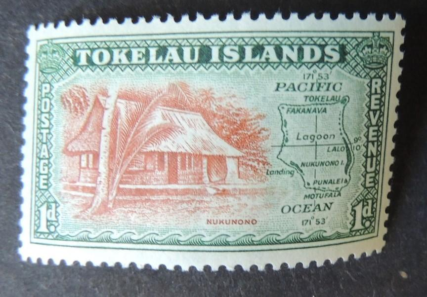 Tokelau 1948 village houses maps 1d MNH
