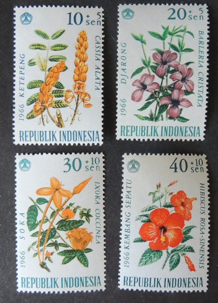 Indonesia 1966 flowers 4v MNH #1