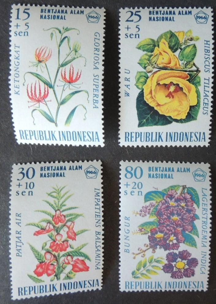 Indonesia 1966 flowers 4v MNH #2