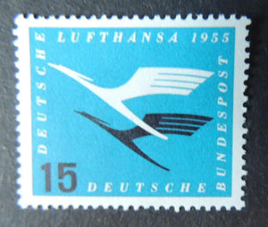 Germany 1955 lufthansa aviation airmail transport 15pf 1v sg1133 MNH
