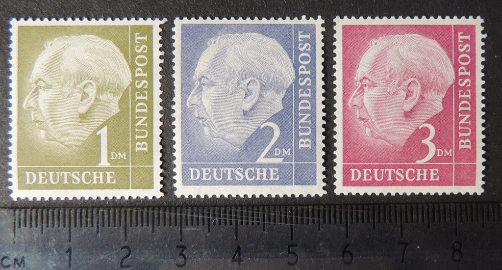 Germany 1954 president heuss definitives high values 1dm 2dm 3dm 3v MNH
