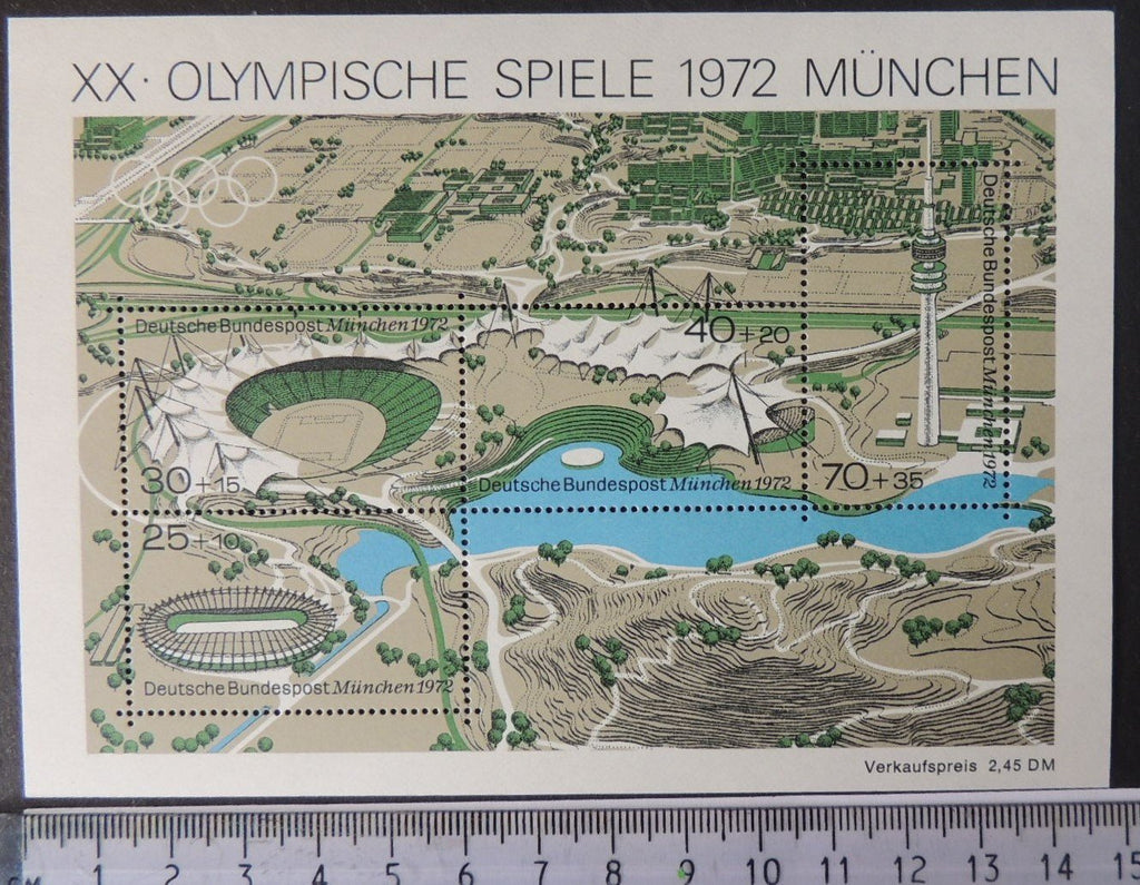 Germany 1972 olympic games munich sport stadium minisheet 4v MNH