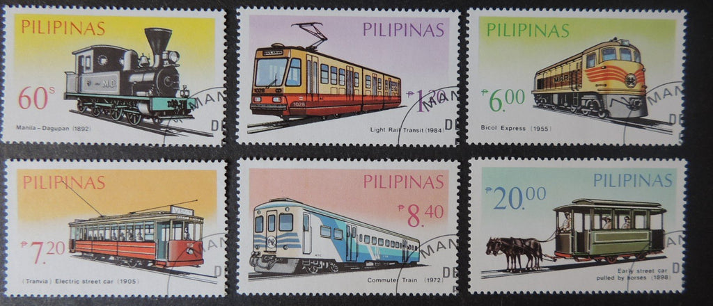 Philippines 1984 railways trams horse drawn transport 6v used