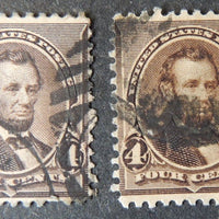 USA 1890-93 4c brown president abraham lincoln  x2 used