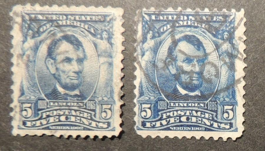 USA 1890-93 5c blue president abraham lincoln  x2 used