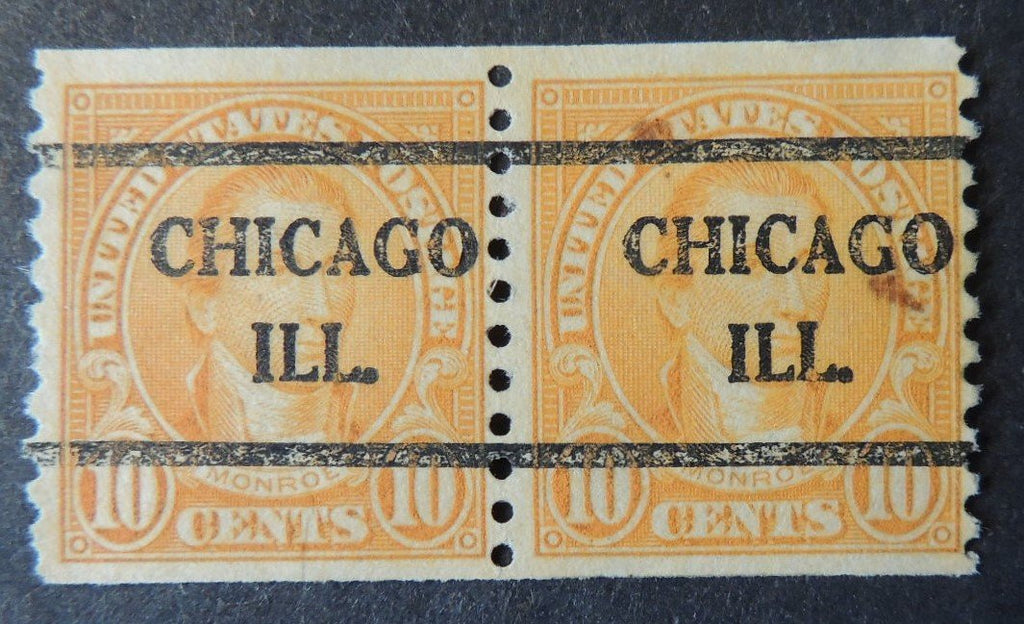 USA 1923-7 10c president monroe coil pair chicago precancel used
