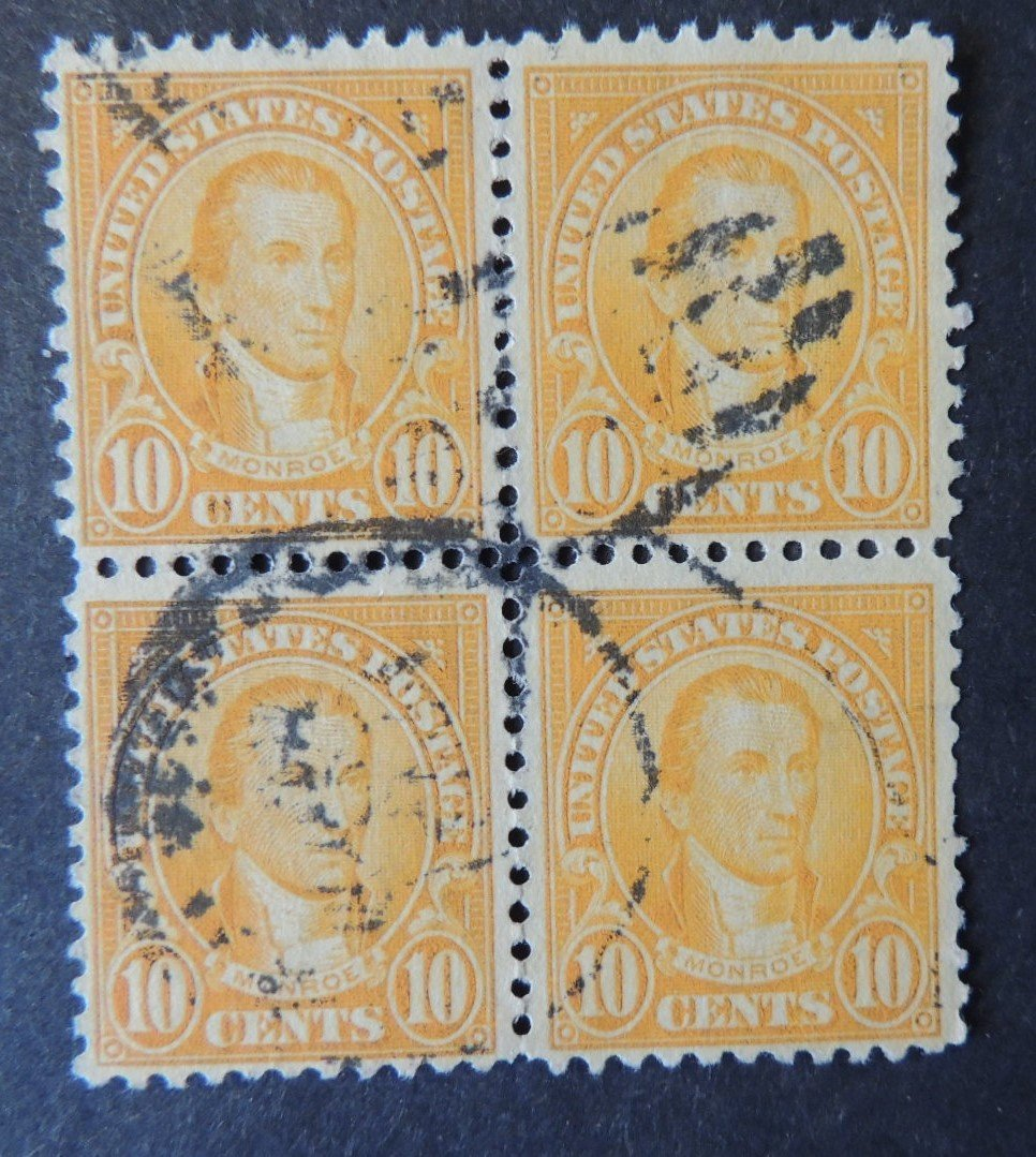 USA 1923-7 10c president monroe block of 4 used #1