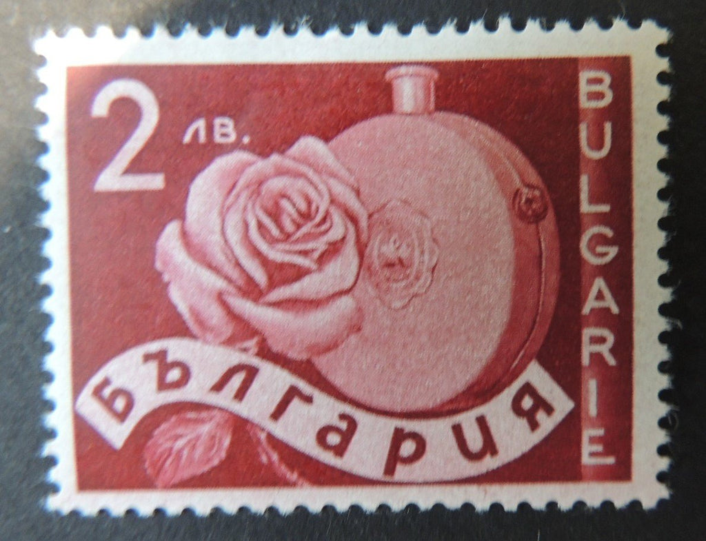 Bulgaria 1938 rose and perfume flask flowers mauve 1v LMM