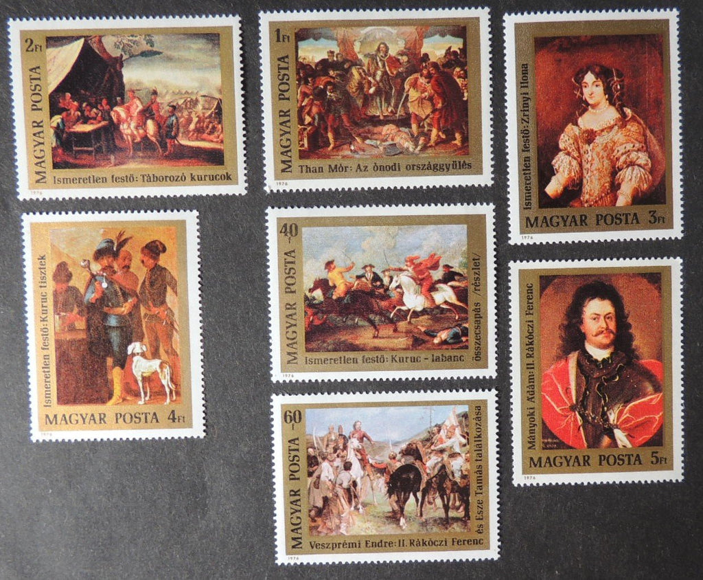 Hungary 1976 art paintings protestant insurrection religion 7v MNH
