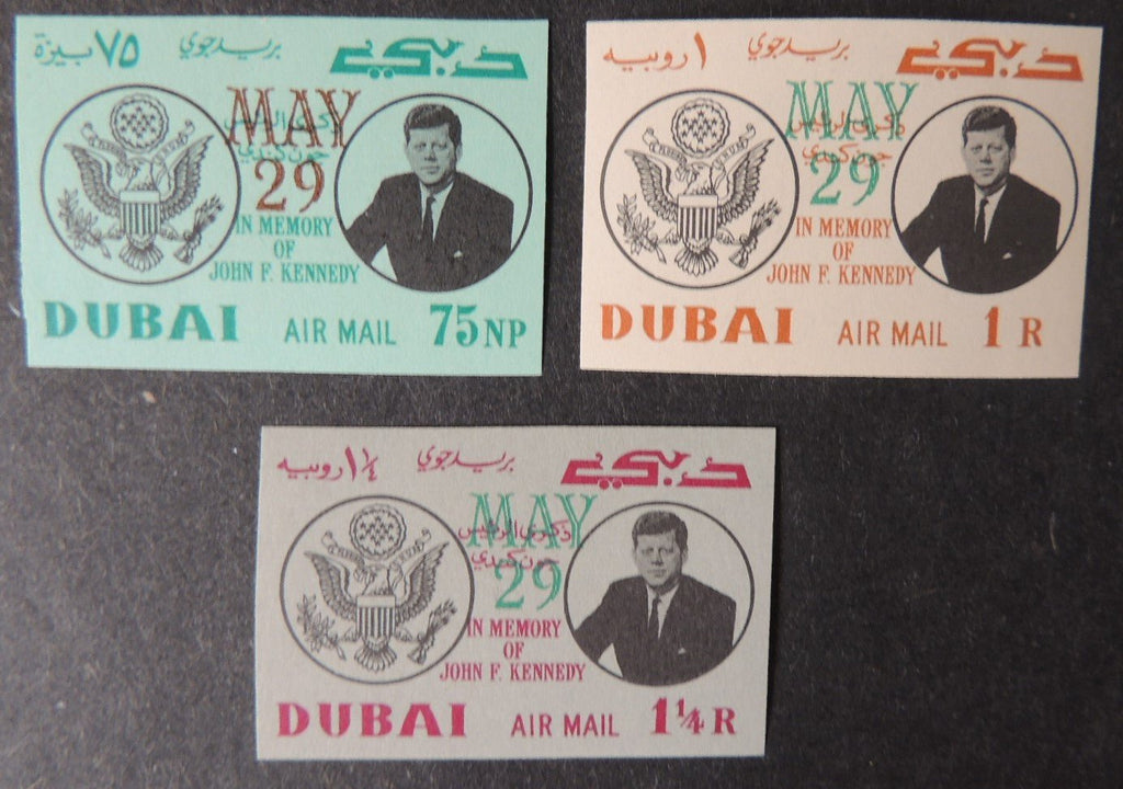 Dubai 1964 jf kennedy airmail overprinted may 29 sg94-96 imperf mnh