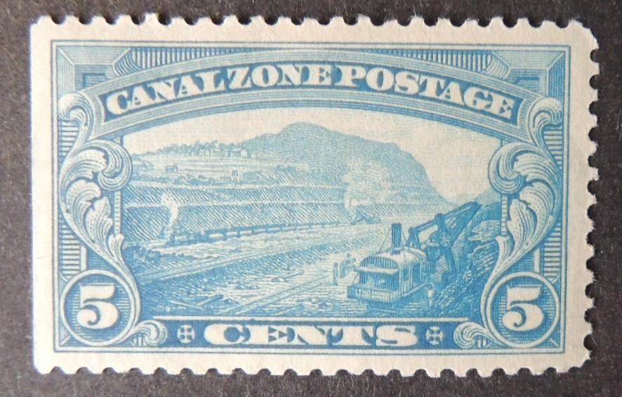 Canal Zone 1928/40 5c blue panama canal in construction railways civil engineering mnh