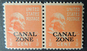 Canal Zone 1937 US benjamin franklin overprinted 0.5c orange pair x1 mnh x1 lmm