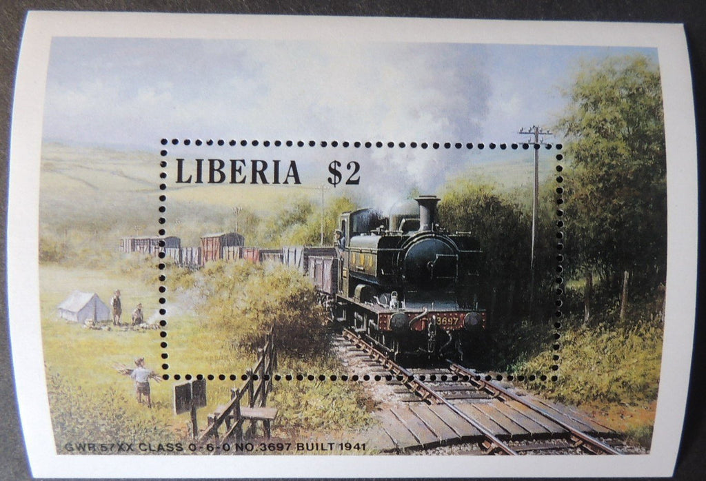 Liberia 1988 trains locomotives railways souvenir sheet