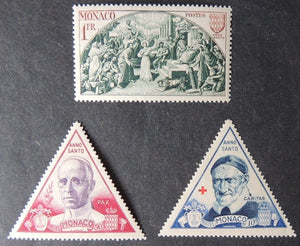 Monaco 1951 anno santo holy year religion popes 3v (see scan)