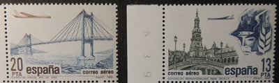 Spain 1981 airmail definitives aviation aircraft bridges mnh