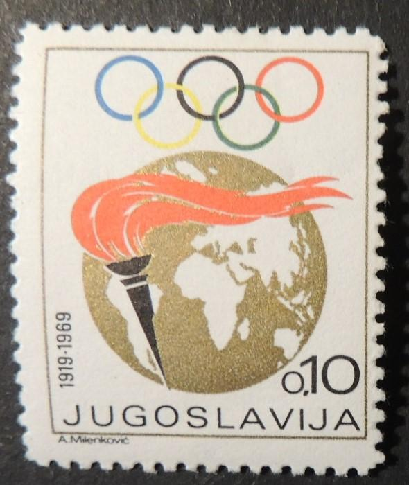 Jugoslavia 1969 olympic games torch perf 11 earth globe mnh