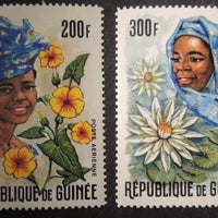 Guinea 1966 women flowers air set mnh