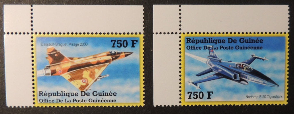 Guinea 2002 fighter aircraft dassault breguet mirage 2000 northrop f-20 tigershark mnh