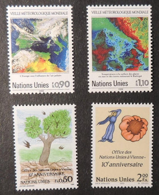 United Nations Geneva 1989 world weather watch + vienna international centre MNH