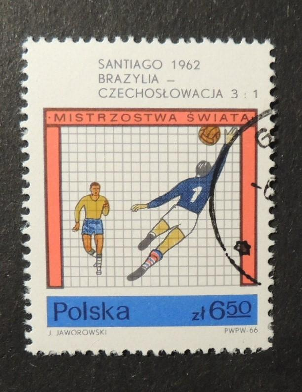 Poland 1966 world cup football finals 1962 brazil 3 czechoslovakia 1 fine used
