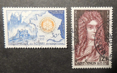 France 1955 agriculture rotary saint simon literature sg1234/35 used
