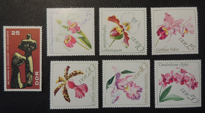 Germany DDR 1967 war victims memorial ww2 wwii flowers orchids mnh