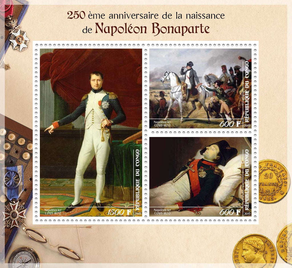 Congo 2019 - Napoleon Bonaparte 250Th Anniversary Of Birth Miniature Sheet Set Of 3 Values