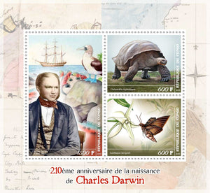 Congo 2019 - Darwin 210Th Birth Anniversary Miniature Sheet Set Of 3 Values