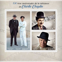 Congo 2019 - Chaplin 130Th Anniversary Of Birth Miniature Sheet Set Of 3 Values