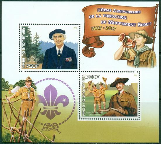 Benin 2017 - 110Th Anniversary Of Founding Of Scouts Movement Miniature Sheet Set Of 2 Values