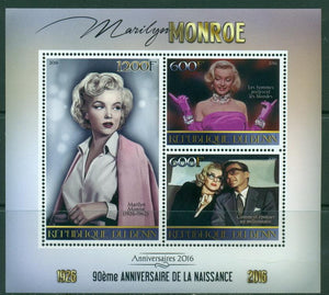 Benin 2016 - 90Th Birth Anniversary Of Marilyn Monroe Miniature Sheet Set Of 3 Values