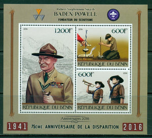 Benin 2016 - 75Th Memorial Anniversary Of Baden Powell Miniature Sheet Set Of 3 Values