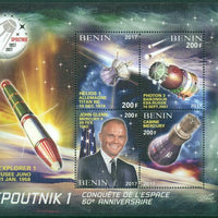 Benin 2017 - 60Th Spoutnik 1 Anniversary Of Conquest Of Space John Glenn Miniature Sheet Set Of 4 Values