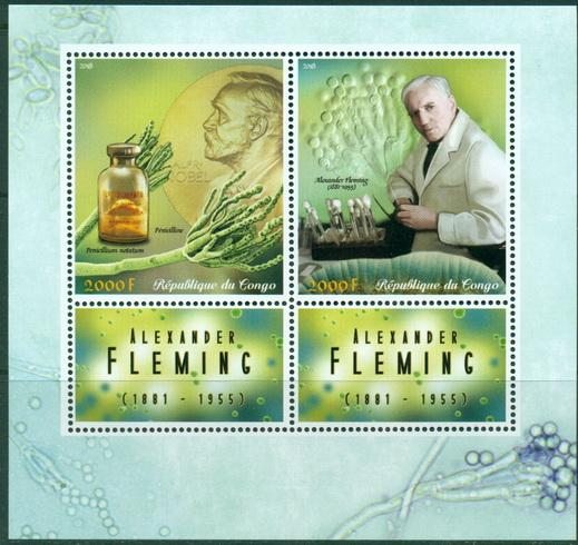 Congo 2018 Alexander Fleming Miniature Sheet Set Of 2 Values