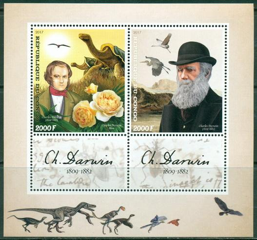 Congo 2017 Charles Darwin Miniature Sheet Set Of 2 Values