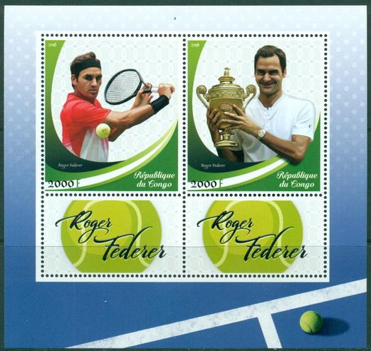 Congo 2018 Roger Federer Miniature Sheet Set Of 2 Values