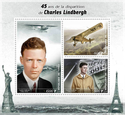 Congo 2019 45Th Death Anniversary Charles Linbergh Miniature Sheet Set Of 3 Values