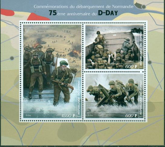 Congo 2019 75Th Anniversary D-Day Miniature Sheet Set Of 3 Values
