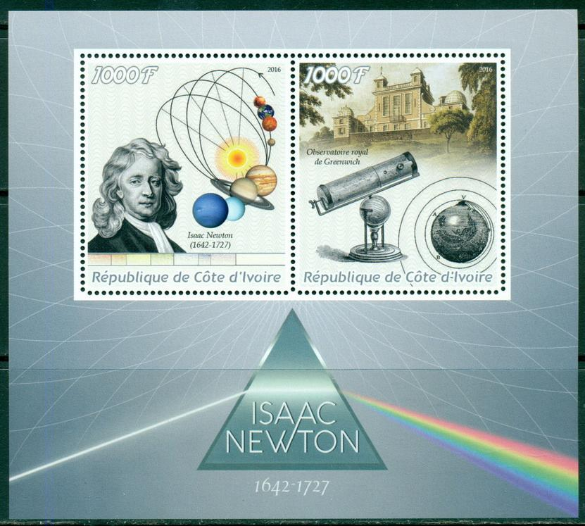 Ivory Coast 2016 Isaac Newton Miniature Sheet Set Of 2 Values