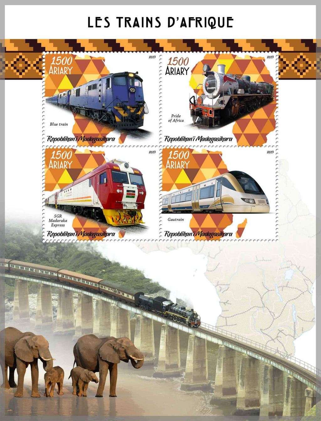Madagascar 2019 Trains Of Africa Miniature Sheet Set Of 4 Values