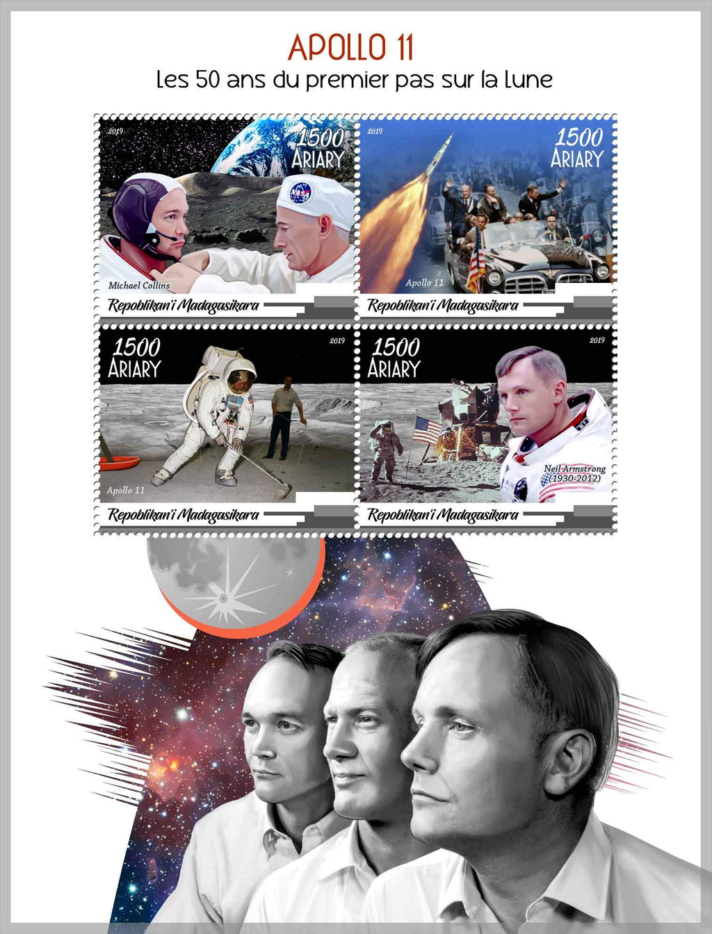 Madagascar 2019 50Th Anniversary Apollo 11 Miniature Sheet Set Of 4 Values